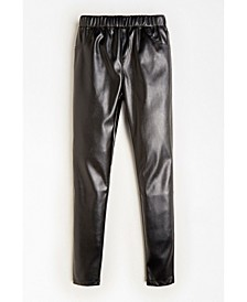 Big Girls Stretch Faux Leather Pull On Jeggings