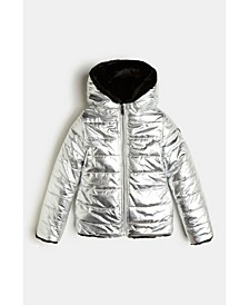Big Girls Reversible Shiny Metallic Slick Look Quilted Nylon Puffer Jacket