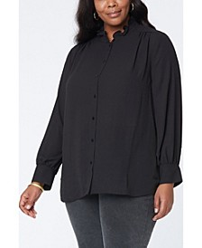 Plus Size Ruffle Neck Blouse