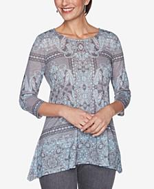 Women's Knit Embellished Paisley Top, Regular & Petite Sizes