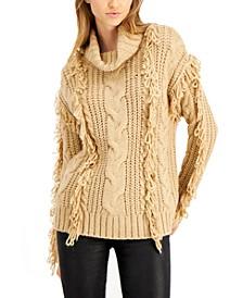 Cowl-Neck Loop-Fringe Sweater