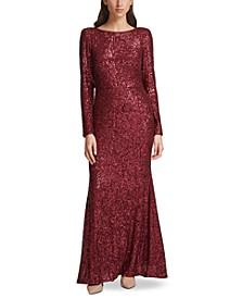 Sequin V-Back Gown