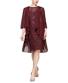 2-Pc. Open-Front Jacket & Sequined Sheath Dress Set