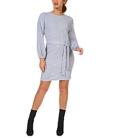 Belted Balloon-Sleeve Sweater Dress