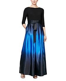 3/4-Sleeve Ombré Gown