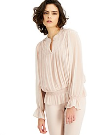 Pleated Smocked Peasant Blouse, Created for Macy's