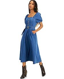 INC Smocked Denim Midi Dress, Created for Macy's
