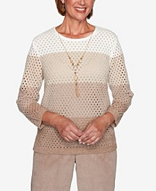 Women's Missy Dover Cliffs Chenille Open Stitch Ombre Sweater