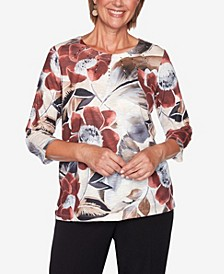 Women's Missy Catwalk Exploded Floral Knit Top