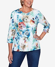 Women's Missy Hunter Mountain Floral Printed Top