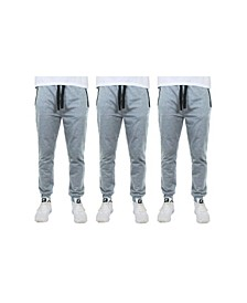 Men's Slim Fitting French Terry Jogger Lounge Pants with Zipper Pockets, Pack of 3
