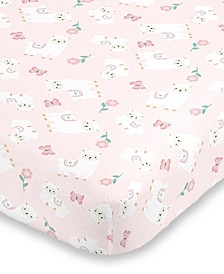 Infant Girl's Sweet Llama and Butterflies Super Soft Fitted Crib Sheet