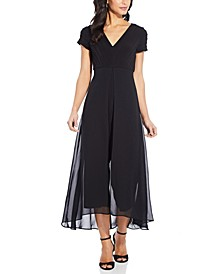 Pintucked-Top Chiffon-Overlay Jumpsuit