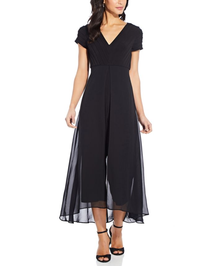 Adrianna Papell Pintucked-Top Chiffon-Overlay Jumpsuit & Reviews - Pants & Leggings - Women - Macy's