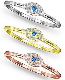 3-Pc. Set Cubic Zirconia Evil Eye Rings in Sterling Silver, 18k Gold-Plate & 18k Rose Gold-Plate, Created for Macy's