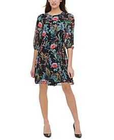 Tommy Hilfiger Petite Floral-Print Tie-Waist Fit & Flare Dress