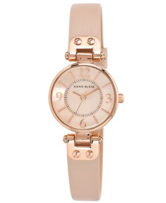 Image of Anne Klein Women's Blush Leather Strap Watch 26mm 10-9442 RGLP