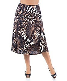 Women's Plus Size Animal Print Midi Skirt