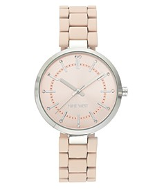 Women's Glitter Accented Silver-Tone and Pink Rubberized Bracelet Watch, 36mm
