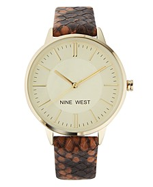 Women's Gold-Tone and Brown Snake Patterned Strap Watch, 37mm