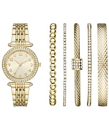 Women's Gold-Tone Stainless Steel Bracelet Watch 30mm Gift Set