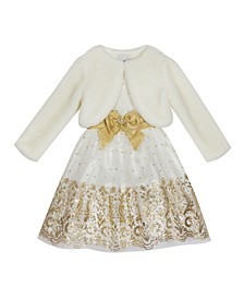 Little Girl Glitter Dress With Faux Fur Shrug