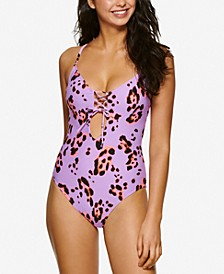 Juniors' True Sports Animal-Print One-Piece Swimsuit, Created for Macy's