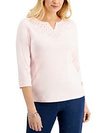 Crochet-Yoke 3/4-Sleeve Top, Created for Macy's