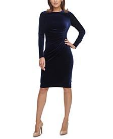 Solid Long-Sleeve Ruched Velvet Dress