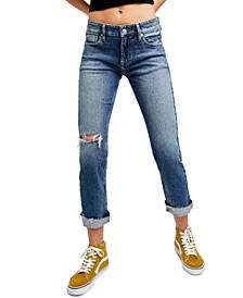 Cuffed Slim Boyfriend Jeans