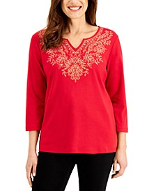Embellished Split-Neckline Top, Created for Macy's