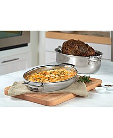 Metal Induction-Safe 8.5-Qt. Oval 3-in-1 Roaster with Lid & Rack