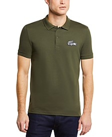Men's Regular Fit Short Sleeve Petit Pique Polo Shirt with Oversized Crocodile Patch