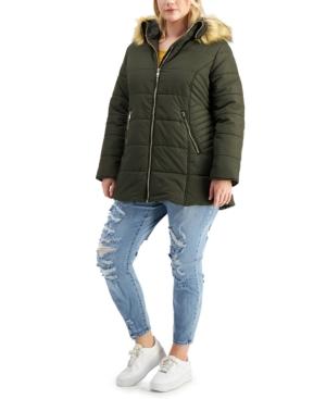 Juniors' Trendy Plus Size Faux-Fur Trim Hooded Puffer Coat