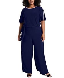 Plus Size Rhinestone-Trim Belted Jumpsuit