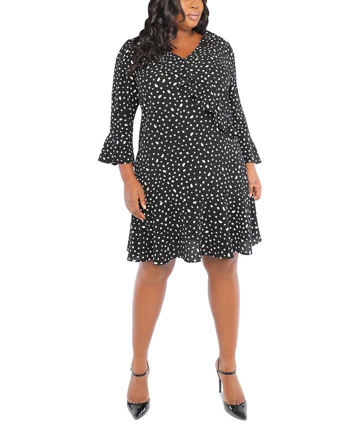 London Times - Plus Size Printed Scuba-Crepe Ruffle A-Line Dress