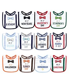 Baby Boys and Girls 12 Piece Cotton Bibs