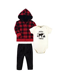 Baby Boys and Girls 3 Piece Cotton Hoodie, Bodysuit and Pant Set
