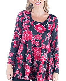 Women's Plus Size Floral Print Swing Tunic Top