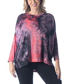 Women's Plus Size Oversized Tie Dye Dolman Tunic Top