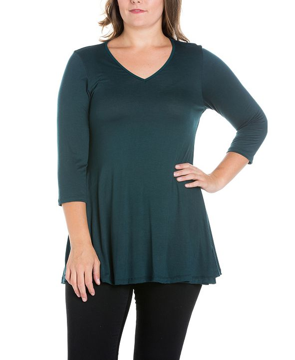 24seven Comfort Apparel Women's Plus Size Three Quarter Sleeves V-Neck Tunic Top