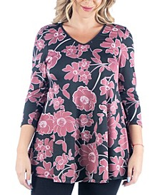 Women's Plus Size Floral Print Flared Tunic Top