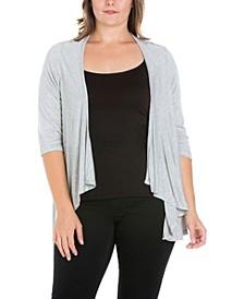 Women's Plus Size Open Front Cardigan