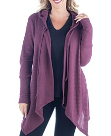 Women's Plus Size Open Front Hooded Cardigan