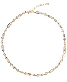 """Gold-Tone Round & Baguette-Crystal Collar Necklace, 18"""" + 2"""" extender"""