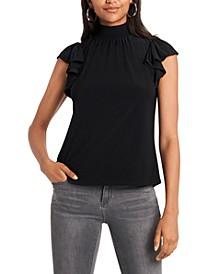 Trendy Plus Size Mock-Neck Flutter-Sleeve Top