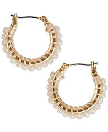 Gold-Tone Small Beaded Hoop Earrings, 0.75""