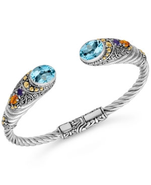 Multi-Gemstone Cuff Bracelet (5-3/8 ct. t.w.) in Sterling Silver & 18k Gold