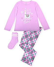 Big Girl's 2 Piece Llama Pajama Set with Socks