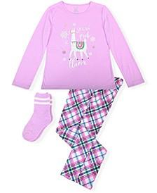Big Girl's 2 Piece Llama Pajama Set with Socks